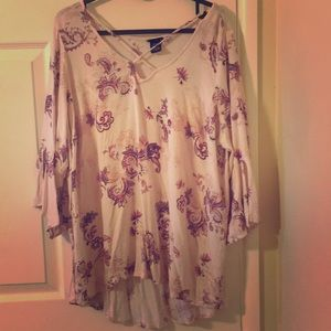 Comfy mid sleeve pink blouse